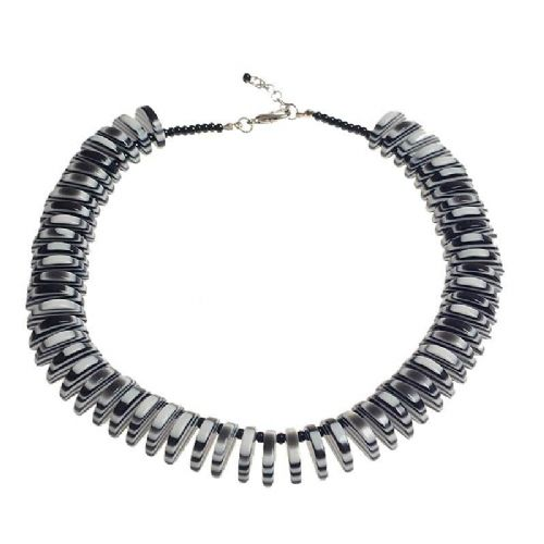 Jackie Brazil Liquorice Allsorts Half Circles Necklace in Black and White